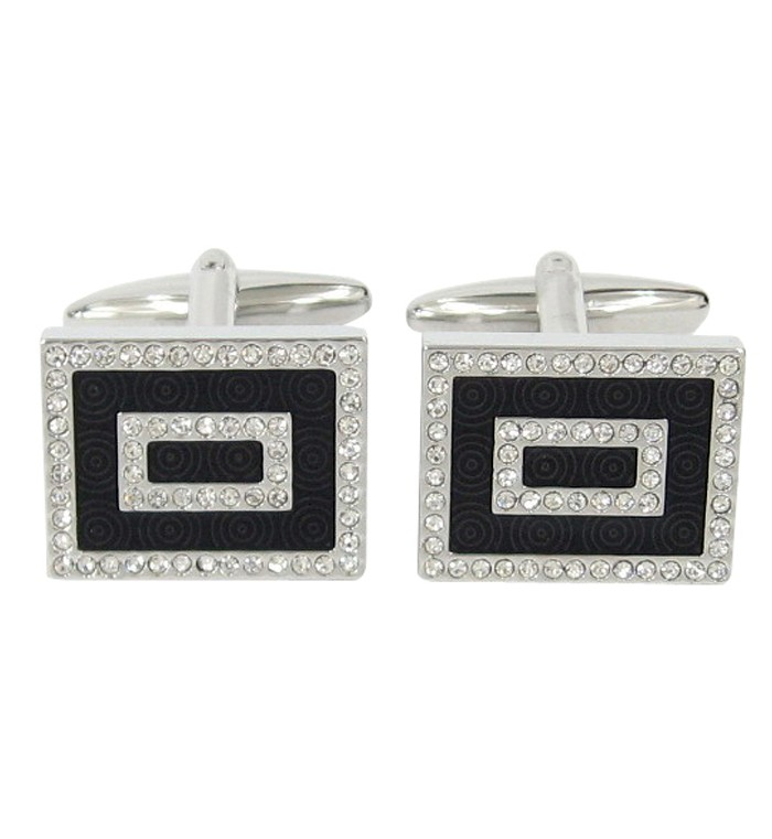 Silver cufflinks with black epoxy centre and clear crystal stones
