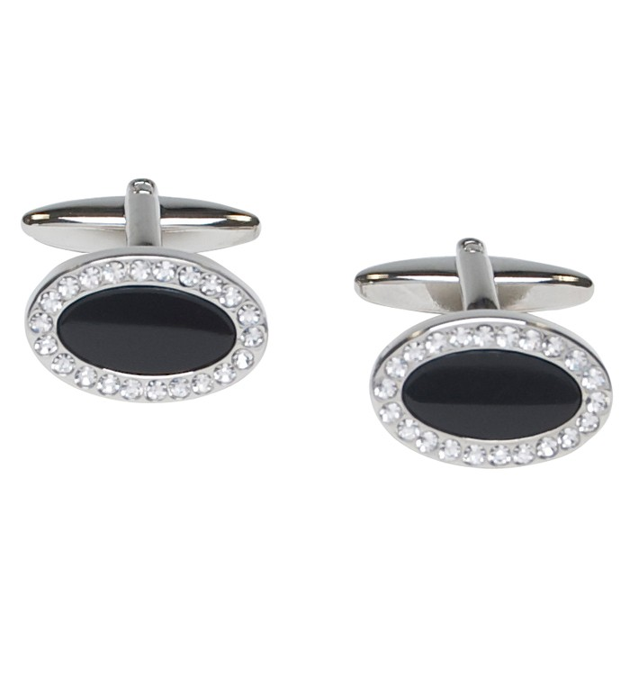 Black enamel timeless oval cufflinks with clear crystal stones