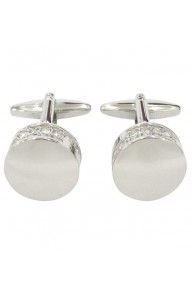 Chunky round silver timeless cufflinks with beautifully dedigned crystals stones