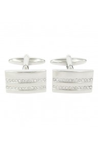 Shiny rhodium curved rectangle cufflinks with clear crystal stones