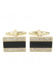 Light gold black enamel cufflinks with clear crystal stones