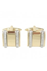 Light gold square cufflinks with 2 row crystal stones
