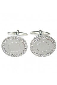 Silver round cufflinks with clear crystal black stones