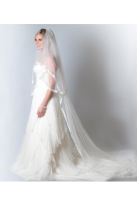 Yvette lace cathedral length veil