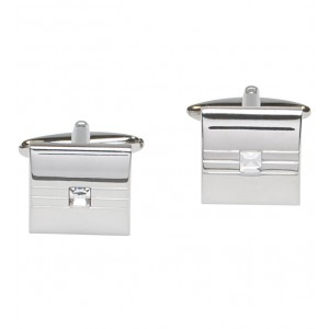 Silver square cufflinks with centralised crystal stone