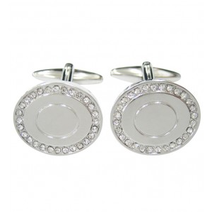 Silver round cufflinks with clear crystal stones