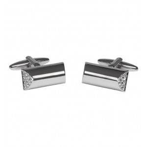 Shiny silver tube cufflinks with stunning crystal stones