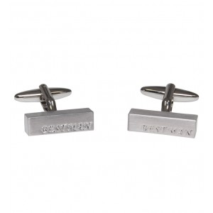 "Brushed silver personalised ""BEST MAN"" cufflinks"