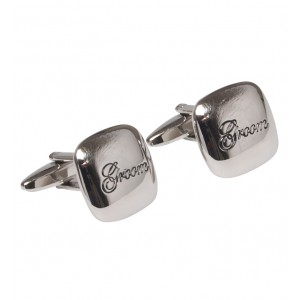 "Silver with itallic black personalised ""GROOM"" cufflinks"