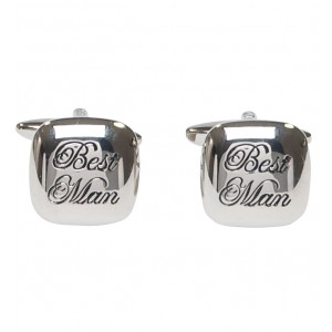 "Silver with itallic black personalised ""Best Man"" cufflinks"