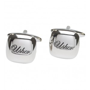 "Silver with itallic black personalised ""Usher"" cufflinks"