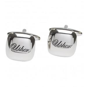 "Silver with itallic black personalised ""Usher"" cufflinks"