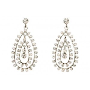 Timeless Silver Tear Drop Earrings with Glass Crystal Stones