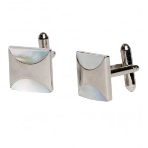 Square silver mother of pearl cufflinks