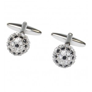 Silver fireball cufflinks with clear crystal and jet black stones