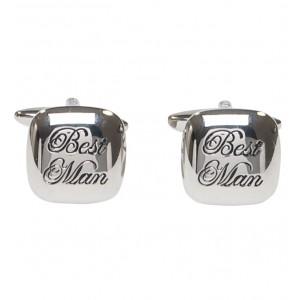"Silver with itallic black personalised ""Best Man"" cufflinks"